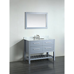 Bosconi 43.30-inch W 2-Drawer Freestanding Vanity in Grey With Marble Top in White With Mirror