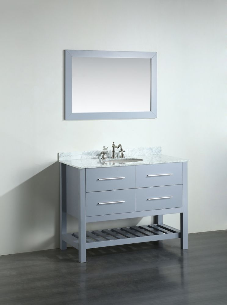 Bosconi Bosconi 43.30-inch W 2-Drawer Freestanding Vanity in Grey With Marble Top in White With Mirror