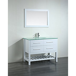 Bosconi 43.30-inch W 2-Drawer Freestanding Vanity in White With Top in White With Mirror
