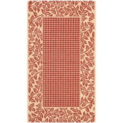 Safavieh Courtyard May Red / Natural 2 ft. 7 inch x 5 ft. Indoor/Outdoor Area Rug