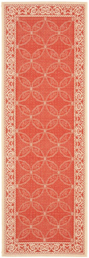 Safavieh Courtyard Elena Red / Natural 2 ft. 3 inch x 6 ft. 7 inch Indoor/Outdoor Runner