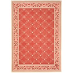 Safavieh Courtyard Elena Red / Natural 4 ft. x 5 ft. 7 inch Indoor/Outdoor Area Rug