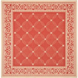 Safavieh Courtyard Elena Red / Natural 6 ft. 7 inch x 6 ft. 7 inch Indoor/Outdoor Square Area Rug
