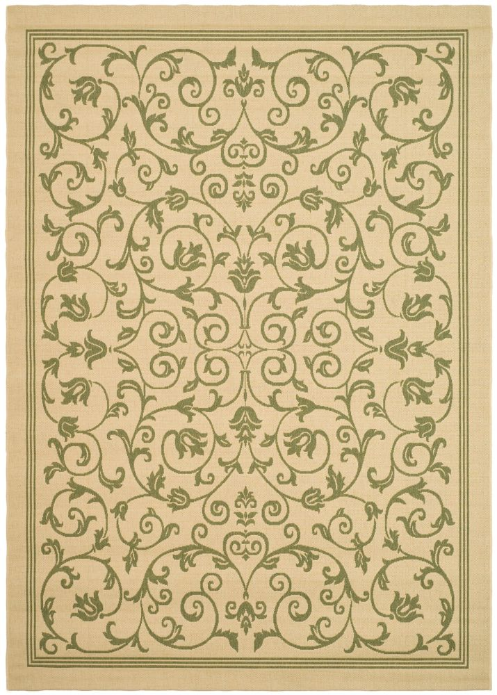 Courtyard Marc Natural / Olive 4 ft. x 5 ft. 7 inch Indoor/Outdoor Area Rug