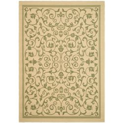 Safavieh Courtyard Marc Natural / Olive 5 ft. 3 inch x 7 ft. 7 inch Indoor/Outdoor Area Rug
