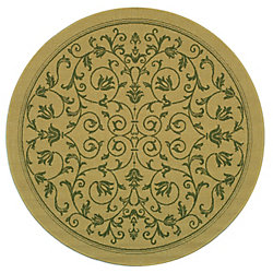 Safavieh Courtyard Marc Natural / Olive 5 ft. 3 inch x 5 ft. 3 inch Indoor/Outdoor Round Area Rug