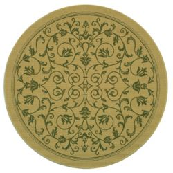 Safavieh Courtyard Marc Natural / Olive 6 ft. 7 inch x 6 ft. 7 inch Indoor/Outdoor Round Area Rug