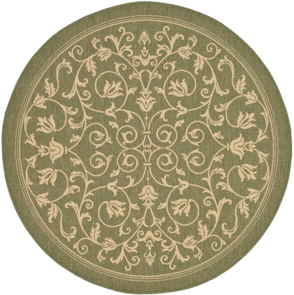 Safavieh Courtyard Marc Olive / Natural 5 ft. 3 inch x 5 ft. 3 inch Indoor/Outdoor Round Area Rug