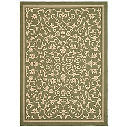 Safavieh Courtyard Marc Olive / Natural 6 ft. 7 inch x 9 ft. 6 inch Indoor/Outdoor Area Rug