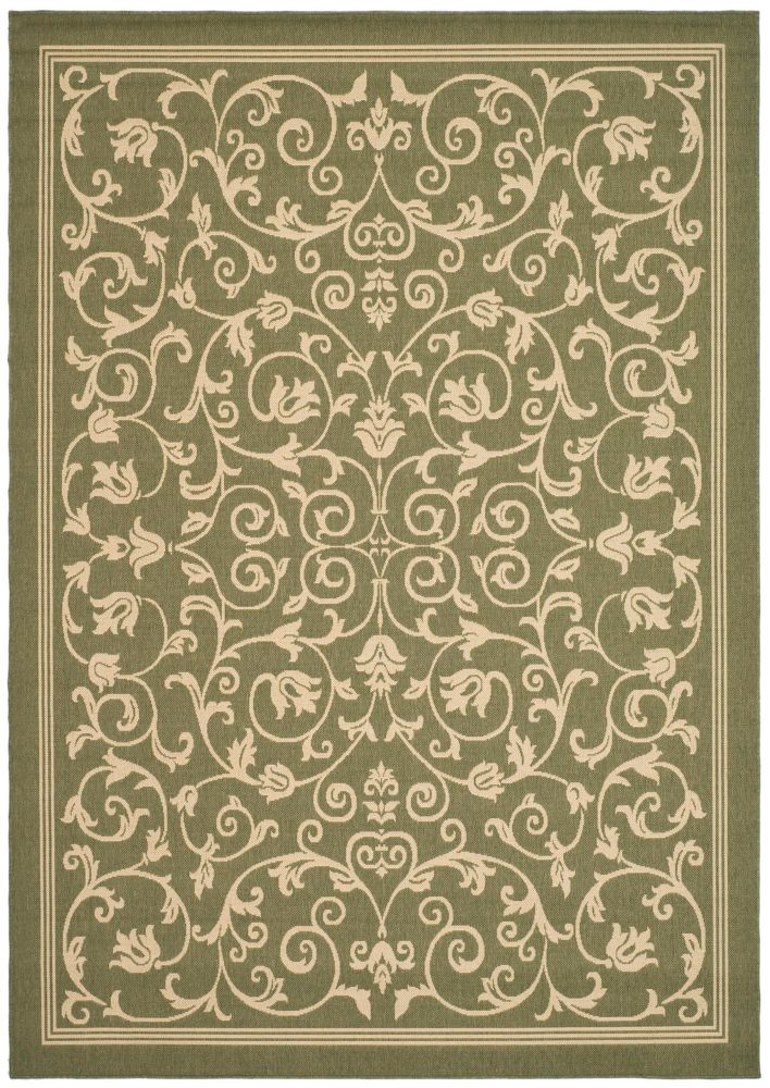 Courtyard Marc Olive / Natural 6 ft. 7 inch x 9 ft. 6 inch Indoor/Outdoor Area Rug