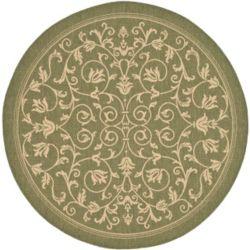Safavieh Carpette d'intérieur/extérieur, 7 pi 10 po x 7 pi 10 po, style transitionnel, ronde, vert Courtyard