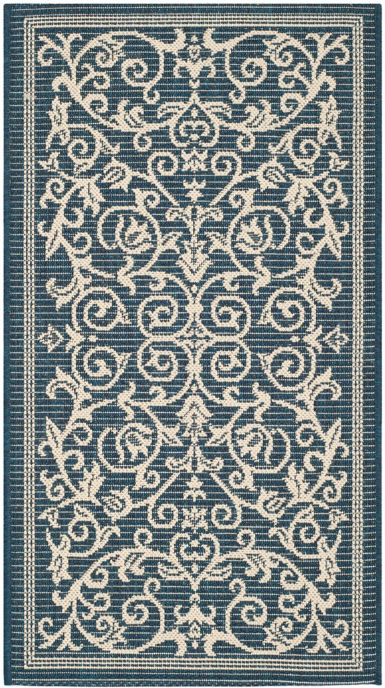 Safavieh Courtyard Marc Navy / Beige 4 ft. x 5 ft. 7 inch Indoor/Outdoor Area Rug
