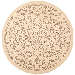 Safavieh Courtyard Marc Natural / Brown 6 ft. 7 inch x 6 ft. 7 inch Indoor/Outdoor Round Area Rug