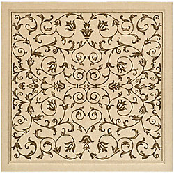 Safavieh Courtyard Marc Natural / Brown 7 ft. 10 inch x 7 ft. 10 inch Indoor/Outdoor Square Area Rug