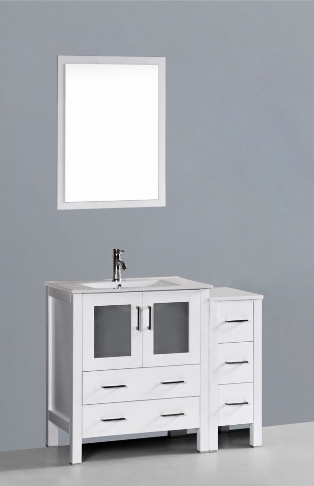 Bosconi Bosconi 42-inch W 5-Drawer 2-Door Vanity in White With Ceramic Top in White With Faucet And Mirror