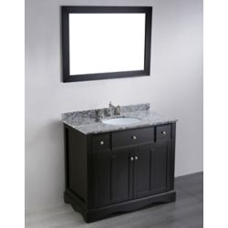 Bosconi 39.40-inch W 2-Drawer 2-Door Vanity in Black With Marble Top in White With Mirror