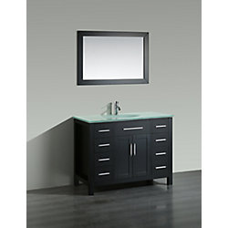 Bosconi 43.30-inch W 8-Drawer 2-Door Freestanding Vanity in Black With Top in White With Mirror