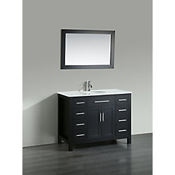 Bosconi 43.30-inch W 8-Drawer 2-Door Vanity in Black With Artificial Stone Top in White With Mirror