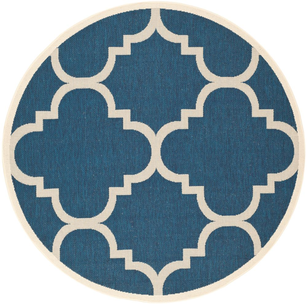 Safavieh Courtyard Alex Navy / Beige 7 ft. 10 inch x 7 ft. 10 inch Indoor/Outdoor Round Area Rug