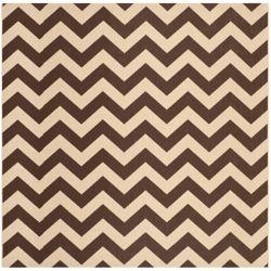 Safavieh Carpette d'intérieur/extérieur, 7 pi 10 po x 7 pi 10 po, style transitionnel, carrée, brun Courtyard