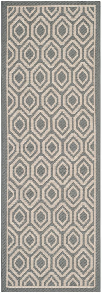Safavieh Courtyard Larry Anthracite / Beige 2 ft. 3 inch x 6 ft. 7 inch Indoor/Outdoor Runner