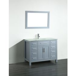 Bosconi 43.30-inch W 8-Drawer 2-Door Freestanding Vanity in Grey With Top in White With Mirror