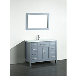 Bosconi 43.30-inch W 8-Drawer 2-Door Vanity in Grey With Artificial Stone Top in White With Mirror