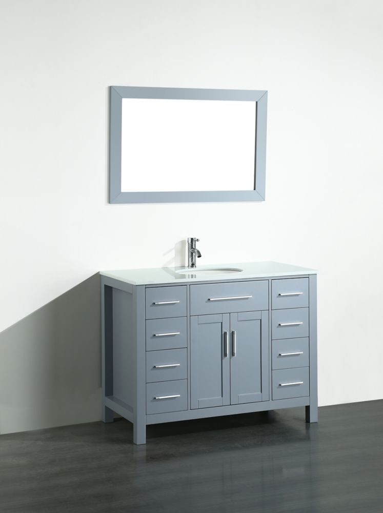 Bosconi Bosconi 43.30-inch W 8-Drawer 2-Door Vanity in Grey With Artificial Stone Top in White With Mirror