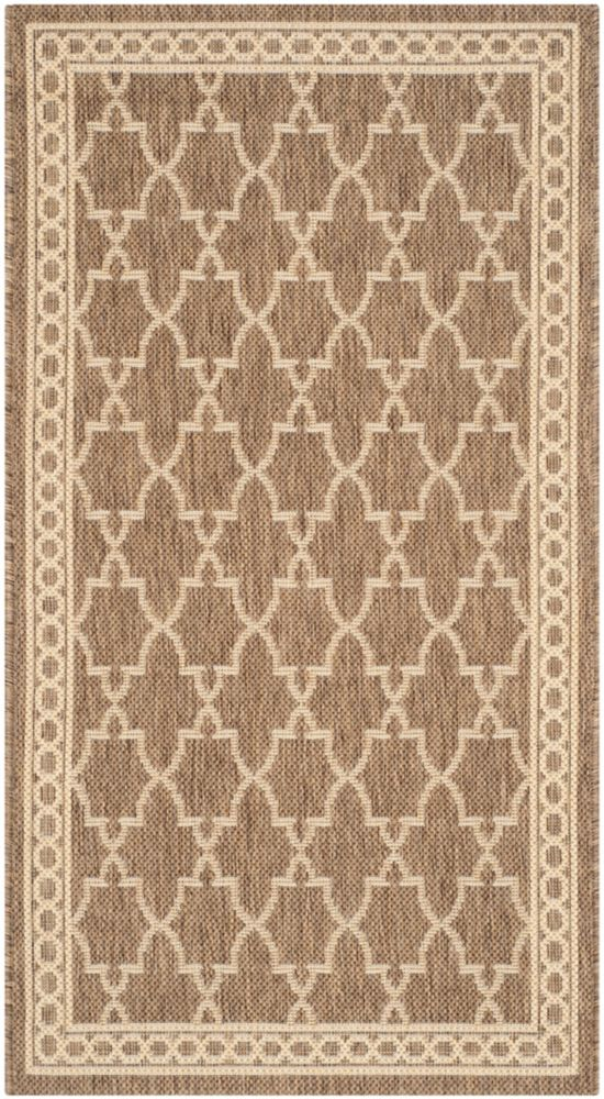 Safavieh Courtyard Bart Dark Beige / Beige 2 ft. 7 inch x 5 ft. Indoor/Outdoor Area Rug