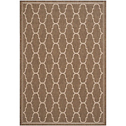 Safavieh Courtyard Joey Brown / Beige 6 ft. 7 inch x 9 ft. 6 inch Indoor/Outdoor Area Rug