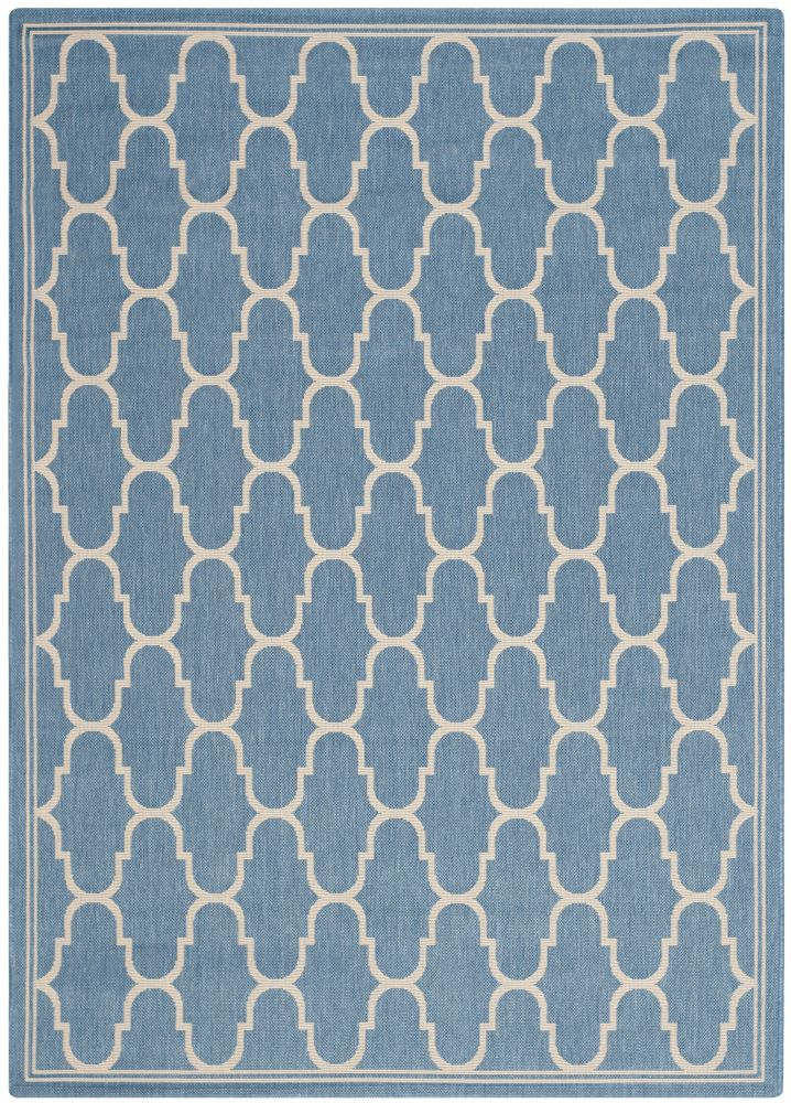 Courtyard Joey Blue / Beige 4 ft. x 5 ft. 7 inch Indoor/Outdoor Area Rug