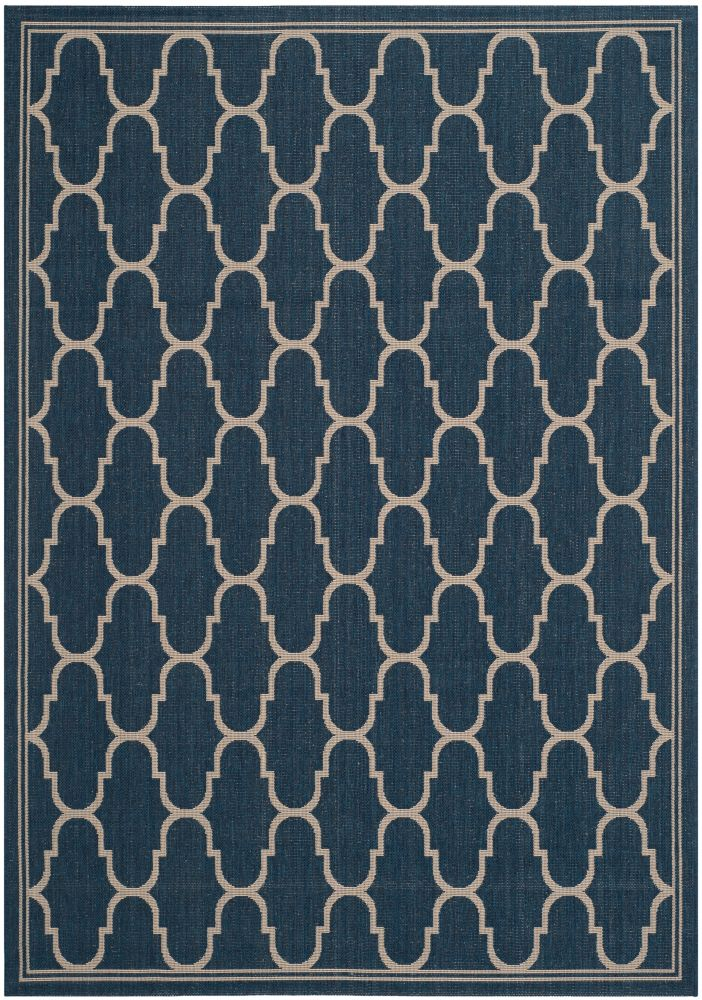 Safavieh Courtyard Joey Navy / Beige 4 ft. x 5 ft. 7 inch Indoor/Outdoor Area Rug