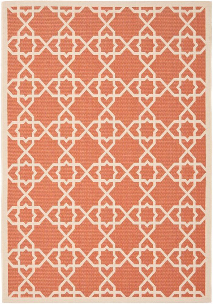Safavieh Tapis de passage d'intérieur/extérieur, 5 pi 3 po x 7 pi 7 po, style transitionnel, rectangulaire, orange Courtyard
