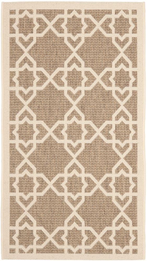 Safavieh Courtyard Jared Brown / Beige 2 ft. x 3 ft. 7 inch Indoor/Outdoor Area Rug