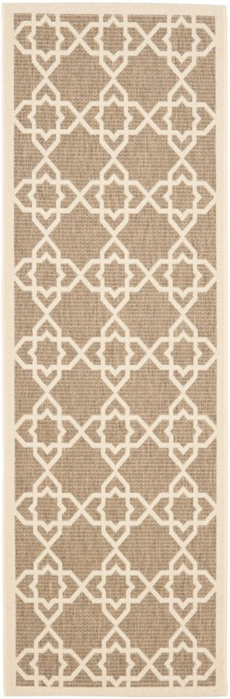 Safavieh Courtyard Jared Brown / Beige 2 ft. 3 inch x 6 ft. 7 inch Indoor/Outdoor Runner