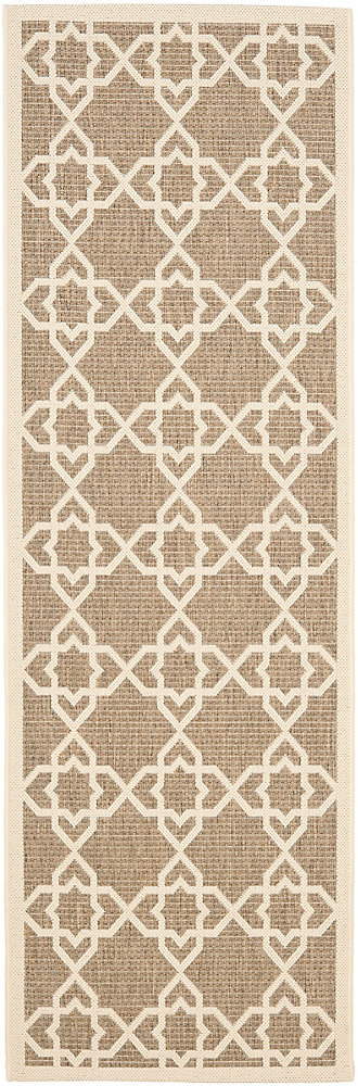 Courtyard Jared Brown / Beige 2 ft. 3 inch x 8 ft. Indoor/Outdoor Runner