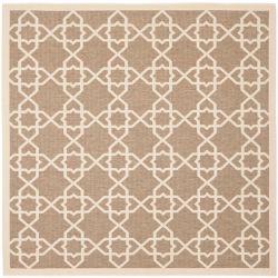 Safavieh Carpette d'intérieur/extérieur, 6 pi 7 po x 6 pi 7 po, style transitionnel, carrée, havane Courtyard