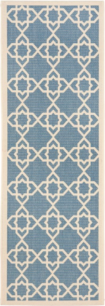 Courtyard Jared Blue / Beige 2 ft. 3 inch x 10 ft. Indoor/Outdoor Runner