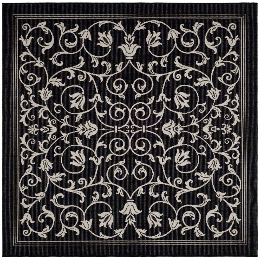 Safavieh Courtyard Marc Black / Sand 6 ft. 7 inch x 6 ft. 7 inch Indoor/Outdoor Square Area Rug