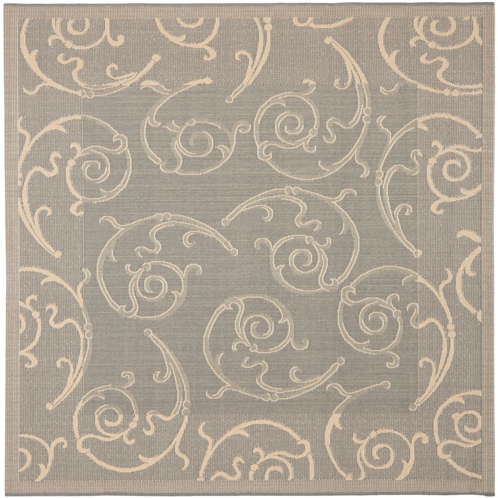 Safavieh Courtyard Des Grey / Natural 7 ft. 10 inch x 7 ft. 10 inch Indoor/Outdoor Square Area Rug