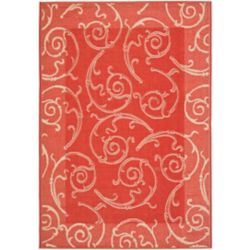 Safavieh Courtyard Des Red / Natural 6 ft. 7 inch x 9 ft. 6 inch Indoor/Outdoor Area Rug
