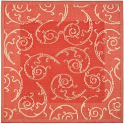 Safavieh Courtyard Des Red / Natural 6 ft. 7 inch x 6 ft. 7 inch Indoor/Outdoor Square Area Rug