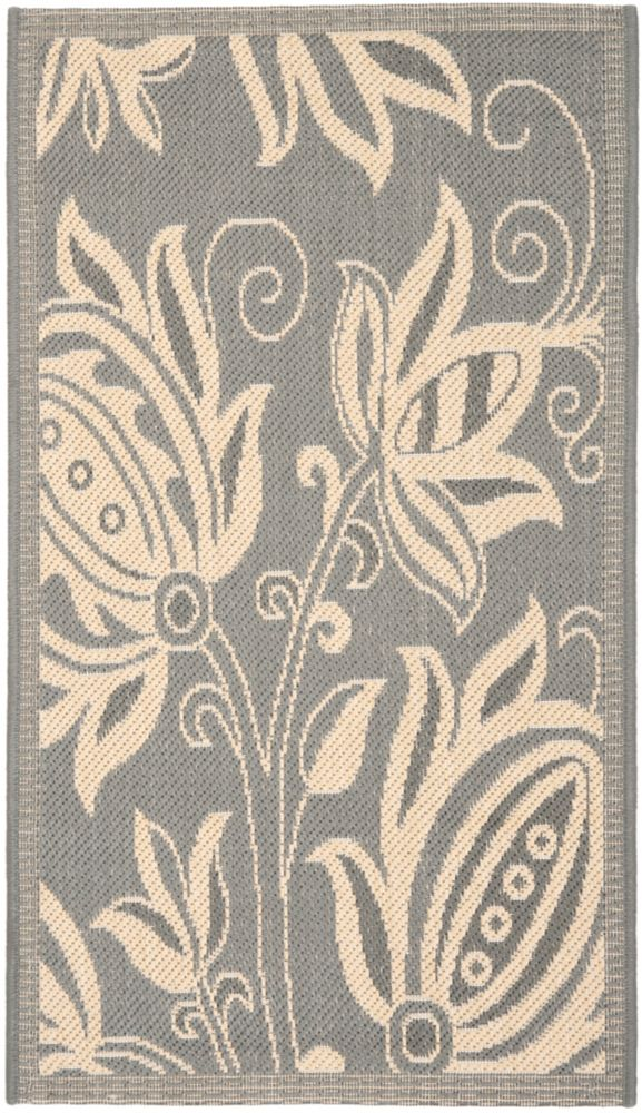 Safavieh Courtyard Dylan Grey / Natural 2 ft. 7 inch x 5 ft. Indoor/Outdoor Area Rug