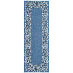 Safavieh Courtyard Zak Blue / Beige 2 ft. 3 inch x 6 ft. 7 inch Indoor/Outdoor Runner