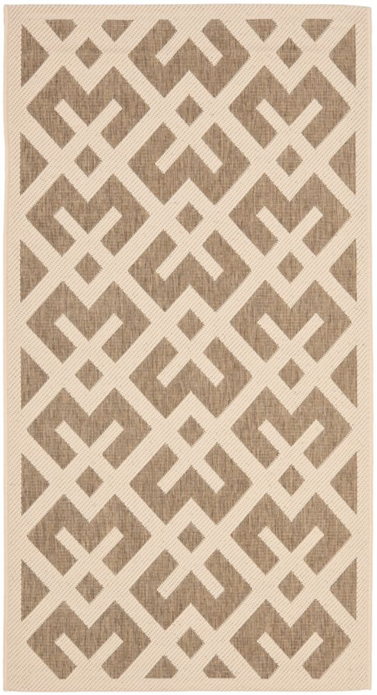 Safavieh Courtyard Leia Brown / Bone 4 ft. x 5 ft. 7 inch Indoor/Outdoor Area Rug