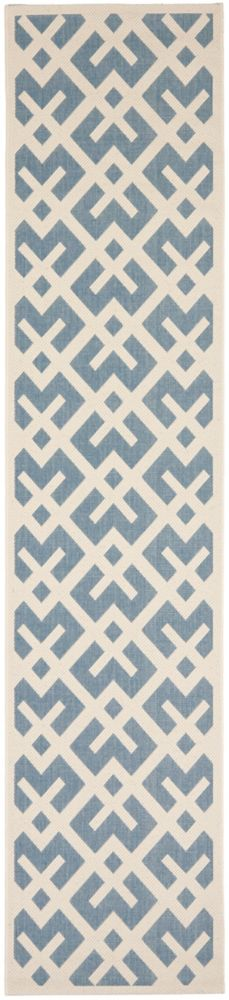 Safavieh Courtyard Leia Blue / Bone 2 ft. 3 inch x 10 ft. Indoor/Outdoor Runner