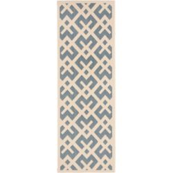Safavieh Courtyard Leia Blue / Bone 2 ft. 3 inch x 6 ft. 7 inch Indoor/Outdoor Runner