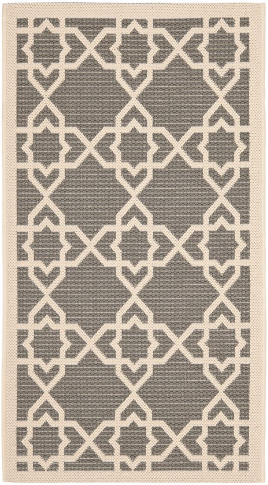 Safavieh Courtyard Jared Grey / Beige 2 ft. 7 inch x 5 ft. Indoor/Outdoor Area Rug