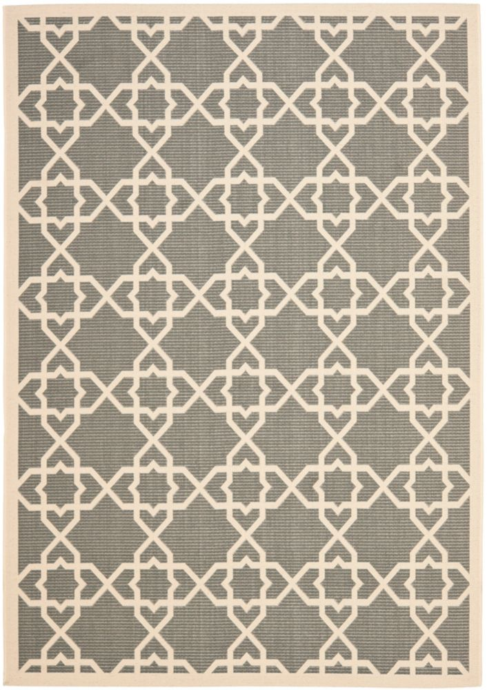 Safavieh Courtyard Jared Grey / Beige 6 ft. 7 inch x 9 ft. 6 inch Indoor/Outdoor Area Rug