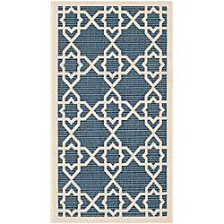 Safavieh Courtyard Blue 2 ft. 7-inch x 5 ft. Indoor/Outdoor Rectangular Area Rug - CY6032-268-3